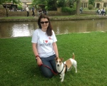 Isabel in Botley Tshirt with dog